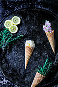 Rosemary ice cream in cones