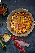 Rhubarb pie with flaked almonds