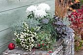 Silbergrau und weiß bepflanzte Herbst-Schale
