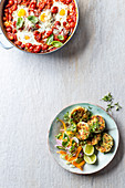 Melanzane shakshuka - Thai fishcakes with fennel salad