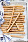 Tahini bread sticks with sesam seeds
