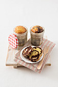 Mini marbled cakes in jars