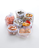 Frozen foods and meals in freezer bags