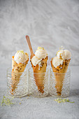 Lemon and elderflower ice cream in homemade waffle cones