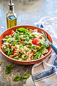 Feta salad with vegetables and basil