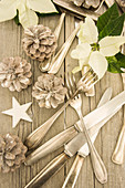 Old silver cutlery with pinecones, a wooden star and poinsettias