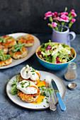 Potato and mushroom cakes with poached egg