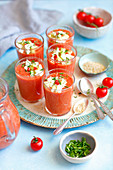 Gazpacho with goat's cheese