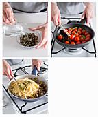 Spaghetti mit Venusmuscheln, Mandel-Pistazien-Pesto, Kirschtomaten und Kapern zubereiten