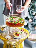 Serving Pimms punch