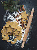 Baking ingredients for Christmas holiday traditional gingerbread cookies