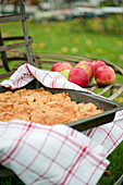 Apple pie on a garden table