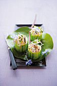 Cucumber with Caribbean shrimp and cream filling