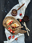 Breakfast set - Freshly baked croissants with strawberries, mascarpone, honey and coffee