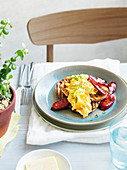 Corn and ricotta scrambled eggs with chorizo