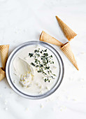 Coconut milk-yogurt ice cream with lemon thyme