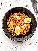 Cold kimchi noodles with hard-boiled eggs (Korea)