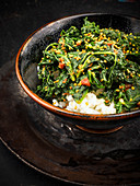 Kale with sesame seeds on a bed of rice (Korea)
