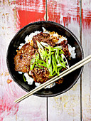 Bulgogi (marinated meat, Korea) on rice