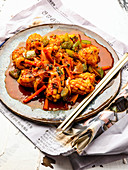 Fried calamari with vegetables (Korea)