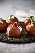 Jacket potatoes with salsa