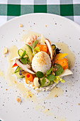 Spring vegetables with Robiola cheese and a boiled egg