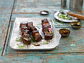 Asian barbecued steak skewers
