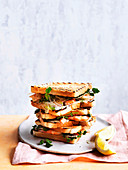 Charred prawn sandwich with fennel, lemon myrtle and lemon