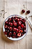 De-stoned cherries in a bowl
