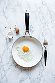 Fried egg in a frying pan, view from above