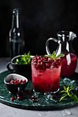 Pomegranate lemonade with ice and mint