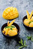 Mango ice cream with mint