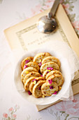 Cookies with pistachios and rose petals