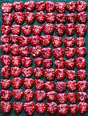 Halved raspberries