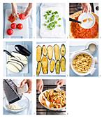 Nudeln mit Tomatensauce, Auberginen und Ricotta zubereiten