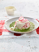 Radish robiola Charlotte with pink pepper and radish leaf pesto