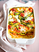 Bread bake with mozzarella and courgettes with flowers