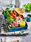 Smoked tuna, broccolini and quinoa salad