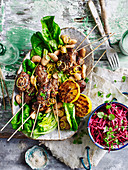 Kofta with white beans and beetroot salad