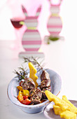 Lamb and rosemary skewers with a pepper medley and polenta rabbits for Easter