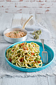 Troccoli with courgette and roasted breadcrumbs