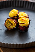 Potato roses wrapped in bacon