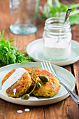 Smoked salmon cakes with capers and yoghurt dip