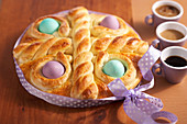 Greek Easter cake with buttermilk and Easter eggs
