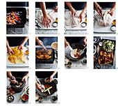 Zubereitung von Ayam Percik (Malaysisches, gegrilltes Hähnchen)