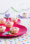 White Chocolate Cups with Fruche and Strawberries
