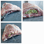 Stuffed pork brisket being made