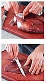 Leber vorbereiten: Aussenhaut, Röhren und Häutchen entfernen