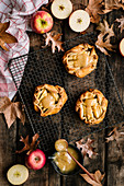Autumnal spelt and apple galettes with butterscotch sauce