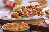 A hot dog (close up)